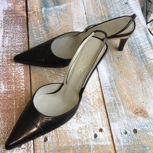 💯% Authentic GUCCI Vintage Blk leather slingback